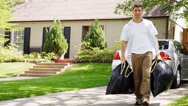 Illustration for article titled Superstitious Man Puts Bag Of Trash Outside House Every Thursday