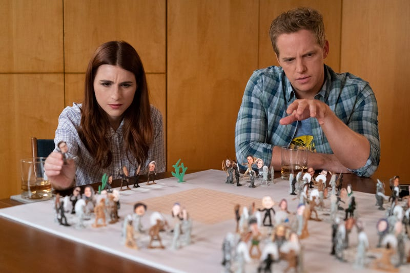 Aya Cash as Gretchen and Chris Geere as Jimmy