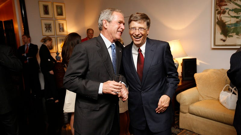 President George W. Bush with Bill Gates in Beijing, China on August 9, 2008