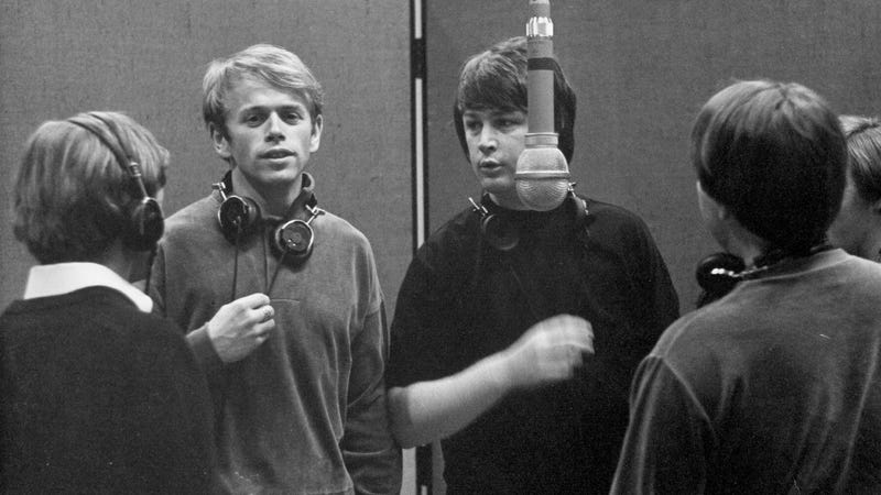 Al Jardine and Brian Wilson at Western Recorders studios in Los Angeles, 1966.