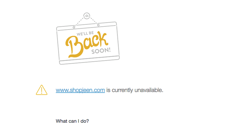 Illustration for article titled Shop Jeen's Website Has Disappeared