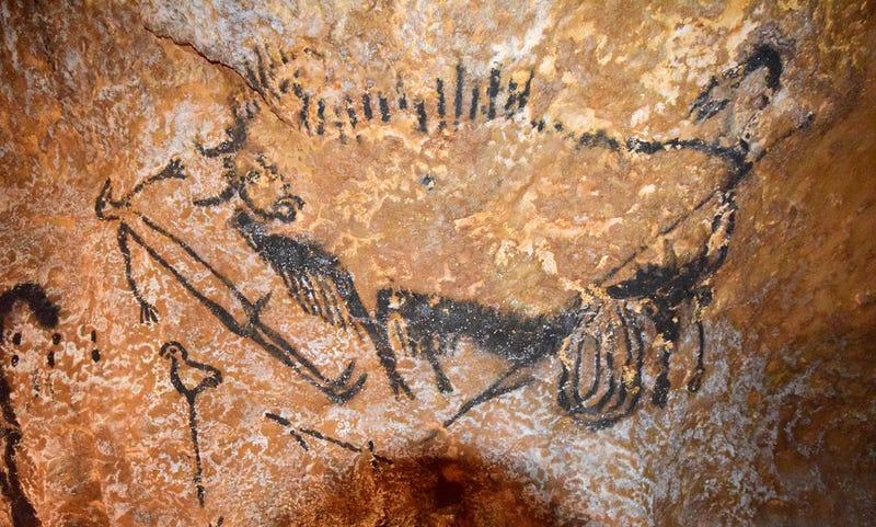 Centro de la escena del Pozo en la cueva de Lascaux
