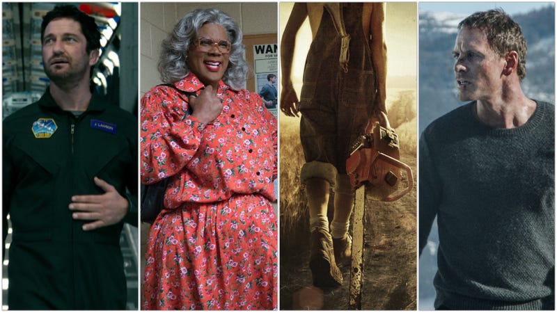 Geostorm (Photo: Warner Bros.), Tyler Perry's Boo 2! A Madea Halloween (Photo: Lionsgate), Leatherface (Photo: Lionsgate), and The Snowman (Photo: Universal Pictures)