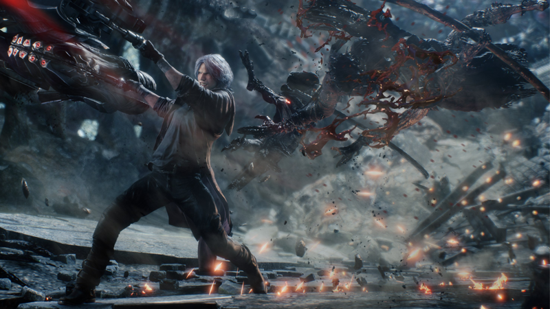 Dante in action in the upcoming fifth main title in the franchise.