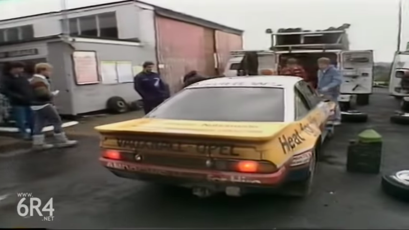 Russell Brookes pulls into the pits in the 1986 RAC