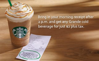 Illustration for article titled Get a Grande Starbucks Beverage for $2 after 2pm with Morning Receipt
