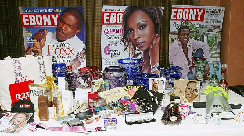 Ebony magazine covers on display among other Ebony-branded items at a magazine event in Beverly Hills in February 2005. A group of four foundations led by the J. Paul Getty Trust has bought the iconic Ebony and Jet photo archive.