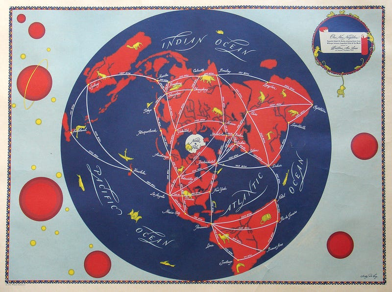 Illustration for article titled Some of the first international air routes, mapped