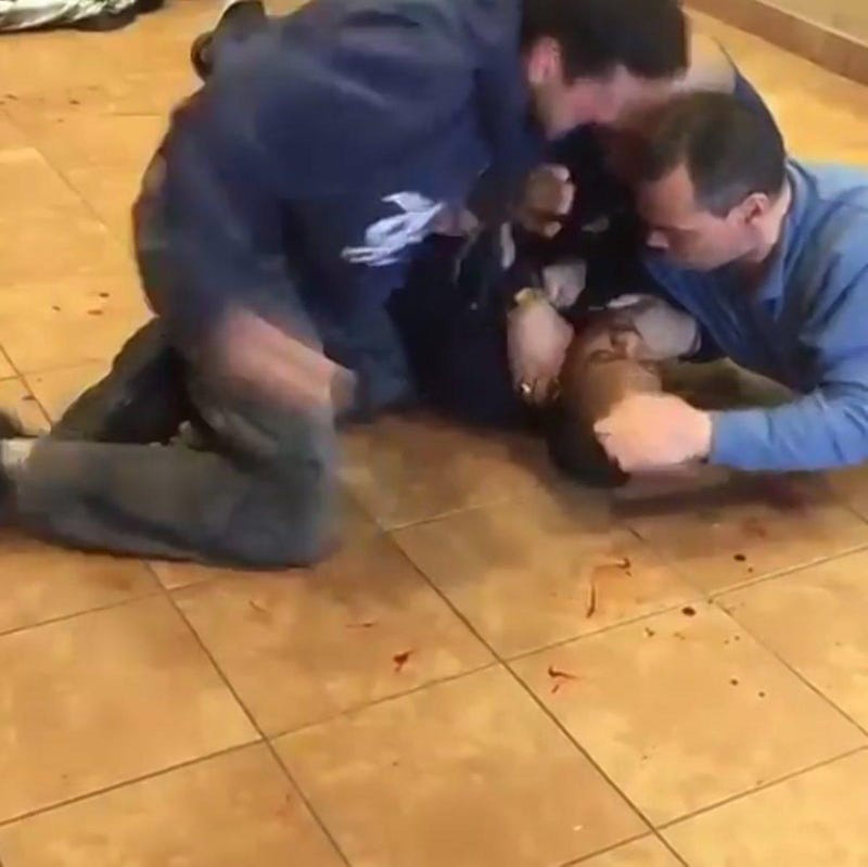 Scene from video that appears to show New York City cops viciously beating a manInstagram Screenshot