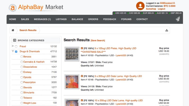 La web de AlphaBay Market.