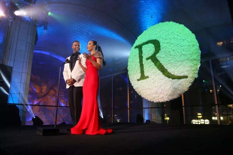 A.J. Calloway and Angela Rye, hosts of The Root 100 gala in 2017.