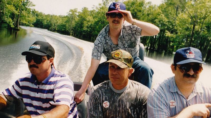 The production crew of Mario Takes America as they film Louisiana by speedboat. Photo: Cigam/Unseen 64