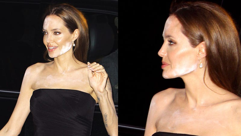 Illustration for article titled Angelina Jolie Suffers Extreme Makeup Malfunction