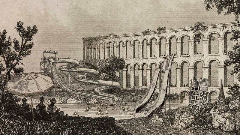 Historians discovered that the primary purpose of aqueducts was to supply fresh water to winding wet mazes full of twists, turns, and heart-stopping drops.