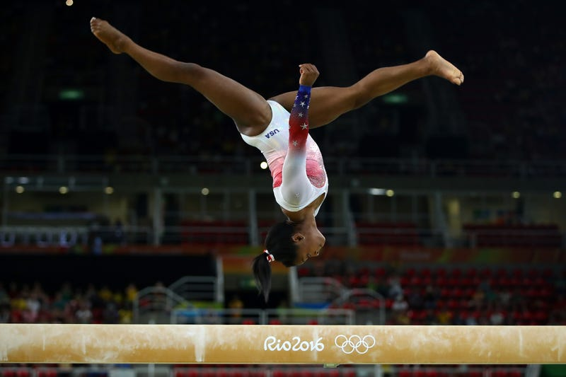 Simone Biles performs on the beam during the Gymnastics Rio Gala on day 12 of the Olympic Games on Aug. 17, 2016, in Rio de Janeiro.Clive Brunskill/Getty Images