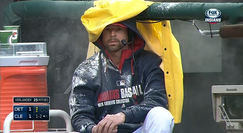 Illustration for article titled Indians' Corey Kluber Pelted With Seeds, Water, Powder During Interview