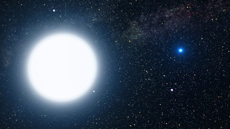 Artist's depiction of a white dwarf (right) in orbit around a white giant star. (Image: NASA, ESA and G. Bacon (STScI))