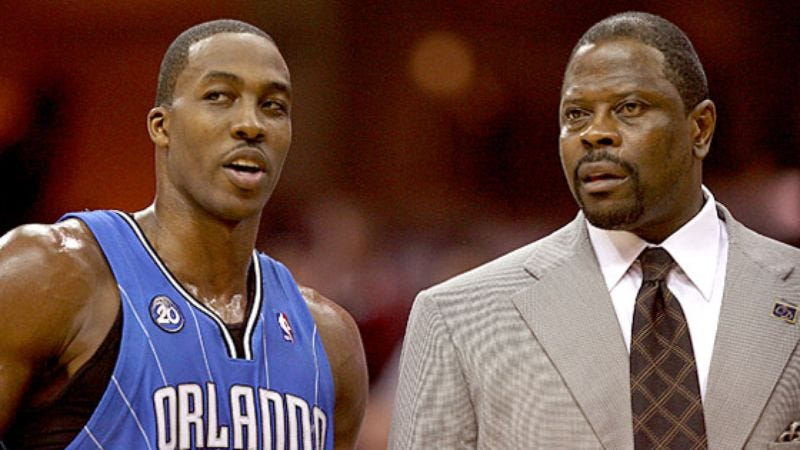 Illustration for article titled Orlando Assistant Coach Patrick Ewing Counsels Dwight Howard On How To Lose NBA Title