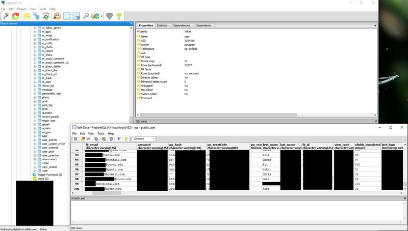 Una muestra de los contenidos de la base de datos de At the Pool