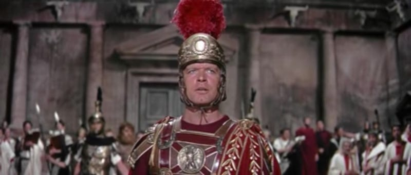 Listening to men with impressive plumage worked well for Rome for many years. Screenshot of The Fall of the Roman Empire via Youtube