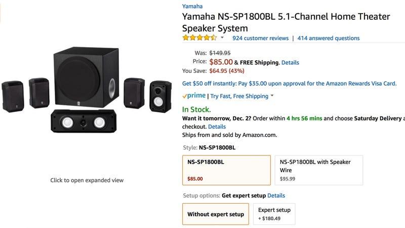 Yamaha 5.1 Channel Speaker System | $85 | Amazon