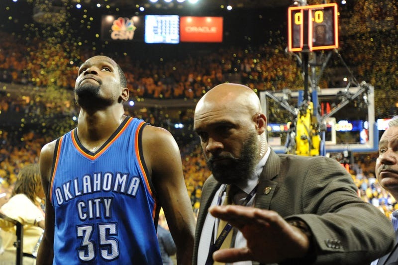 Kevin Durant of the Oklahoma City Thunder walks off the court after being defeated 96-88 by the Golden State Warriors in Game 7 of the Western Conference finals during the 2016 NBA playoffs May 30, 2016, in Oakland, Calif.Robert Reiners/Getty Images