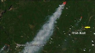 A satellite photo of the sawdust fire taken in June 2016 (LandSat/Greenpeace)