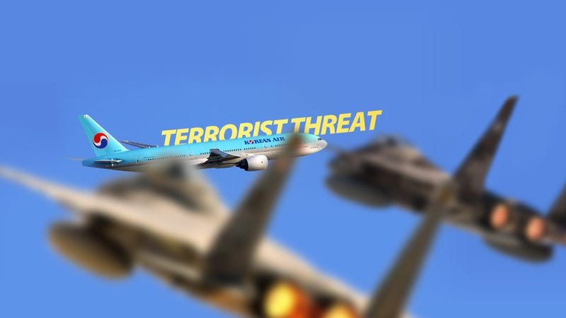 Illustration for article titled American F-15 Fighters Intercept Korean Air Boeing 777 Because of Terrorist Threat