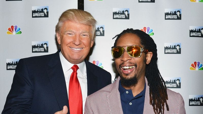 Donald Trump and Lil Jon on the red carpet for All-Star Celebrity Apprentice (Photo: Slaven Vlasic/Getty Images)