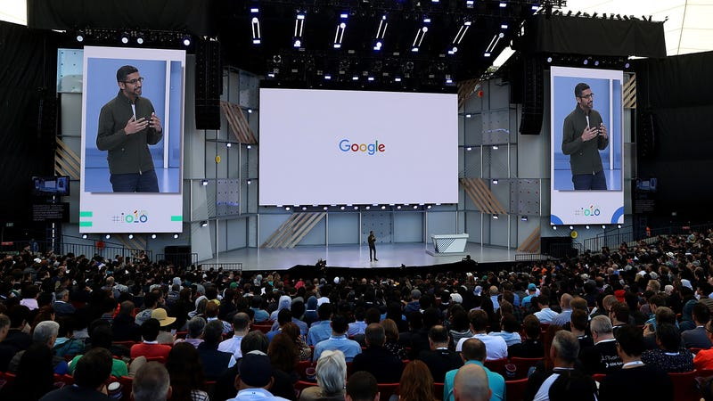 Google CEO Sundar Pichai delivering last year's Google I/O keynote