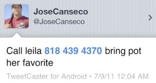 Illustration for article titled In His Latest Meltdown, Jose Canseco Decided To Publicize His Girlfriend's Phone Number, Drug Of Choice
