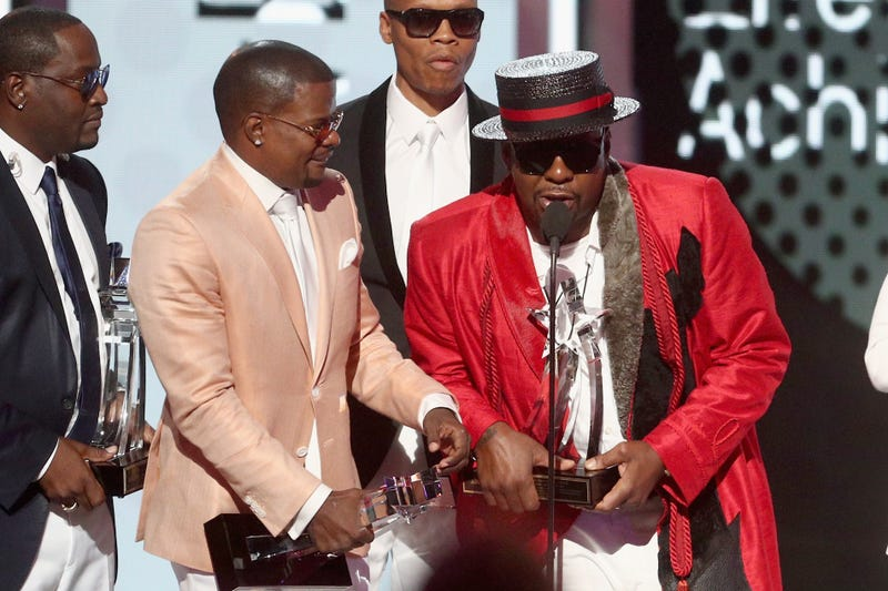 Bobby Brown at the mic as New Edition accepts the Lifetime Achievement Award at the 2017 BET Awards on June 25, 2017, in Los Angeles (Frederick M. Brown/Getty Images)