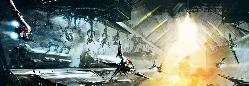 Illustration for article titled Sleek Spaceship Concept Art That Reminds You Of Your Favorite Space Opera Sagas
