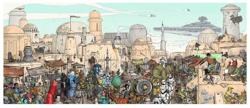 Illustration for article titled Scifi characters invade Tatooine, Where's Waldo-style