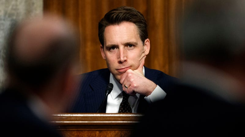 """Sen. Josh Hawley, R-Mo., pauses during a Senate Armed Services Committee hearing on """"Nuclear Policy and Posture"""" on Capitol Hill in Washington, Thursday, Feb. 29, 2019."""