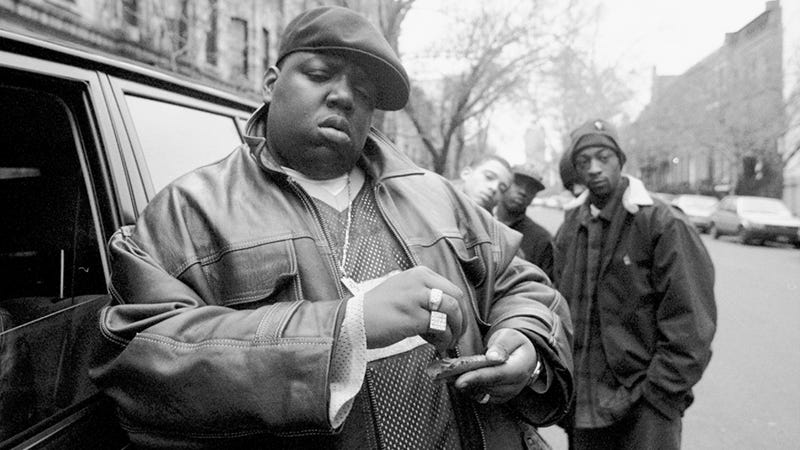 The Notorious B.I.G. outside his mother's house in Brooklyn, N.Y., on Jan. 18, 1995