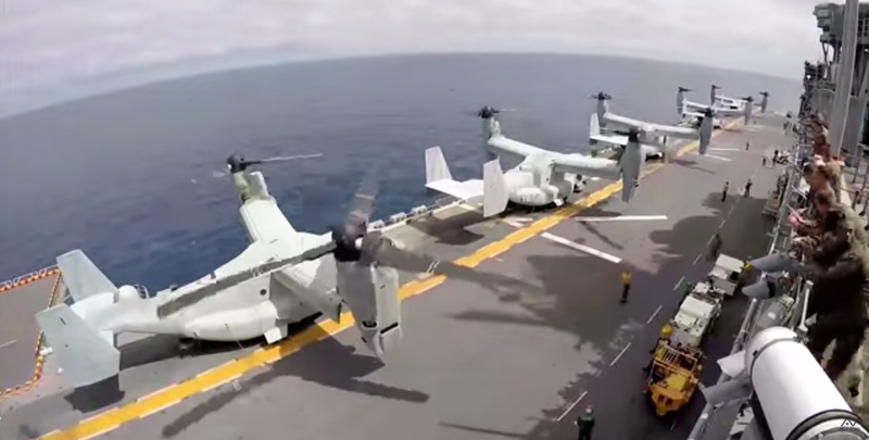 Illustration for article titled This Time Lapse Shows Literally A Boat Load Of MV-22 Osprey Departures