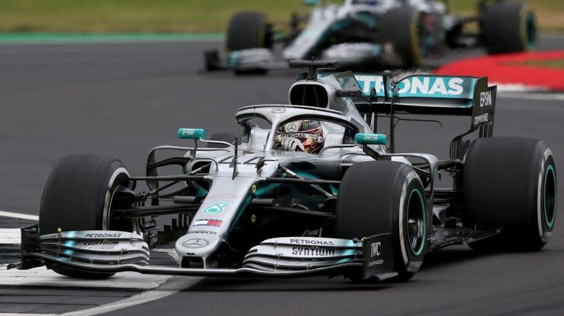 Lewis Hamilton leading Valtteri Bottas at the British Grand Prix.