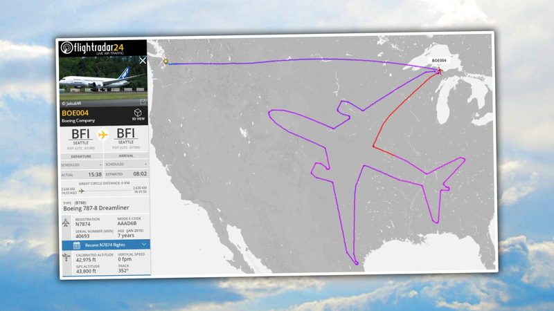 Illustration for article titled Boeing Tests Engines On Its 787 Dreamliner By Drawing A Giant 787 Dreamliner All Over America