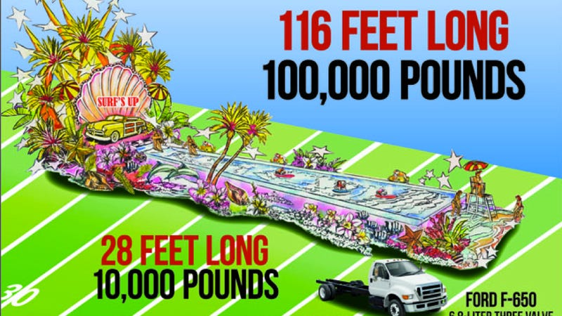 Illustration for article titled World's longest parade float features surfing bulldog, V10-power