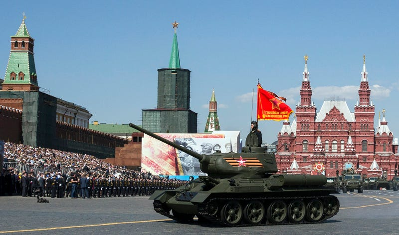 A World War II era Soviet tank T-34 rides during the Victory Day military parade marking 71 years after the victory in WWII in Red Square in Moscow, Russia, Monday, May 9, 2016. (AP Photo/Pavel Golovkin)