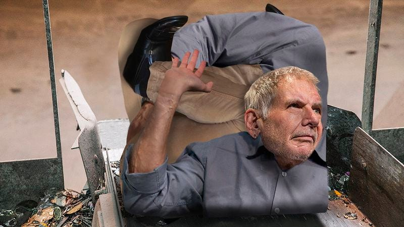 Illustration for article titled Lucky To Be Alive: Harrison Ford Had To Be Rescued After Being Compacted Into A Cube On A Factory Conveyor Belt