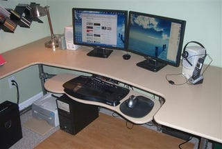 ... gone shopping for ergonomic desks that fit your space perfectly?  Instead of paying an outrageous fee, you can roll up your sleeves and  create your own.