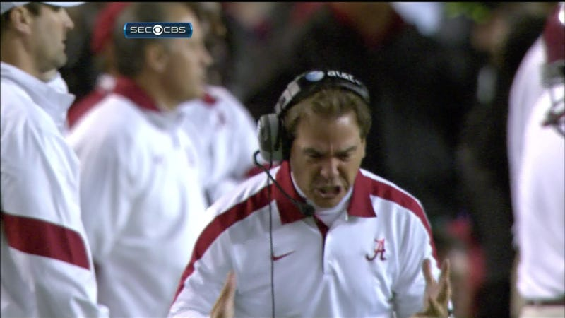 Illustration for article titled Moments Later, Nick Saban Turned Green And Tore A Referee's Torso In Half