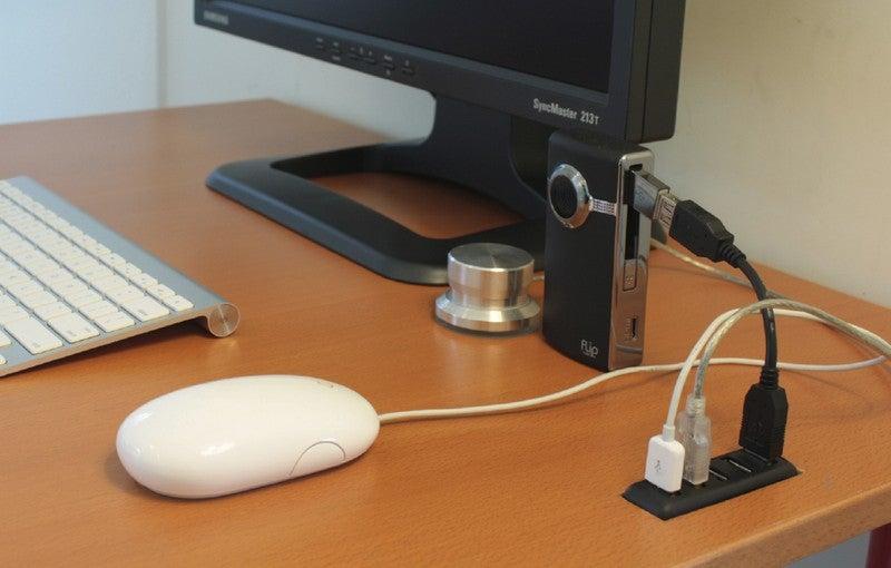 DIY Desk-Embedded USB Hub Puts USB Ports at Your Fingertips