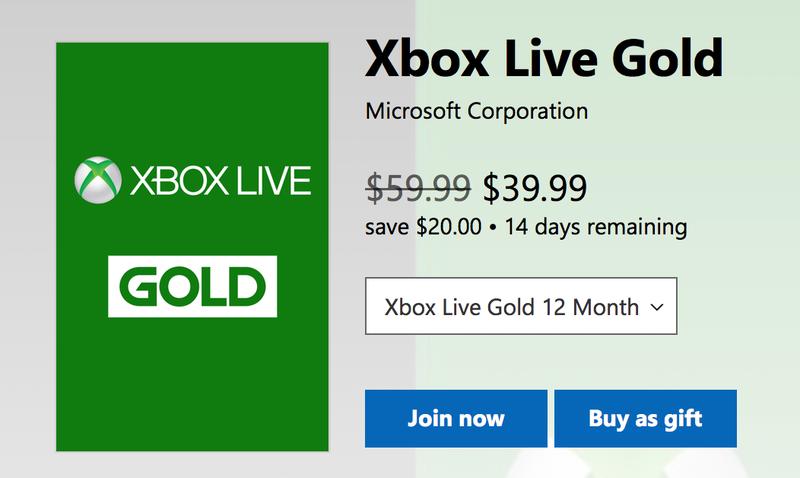 1 Year Xbox Live Gold | $40 | Microsoft