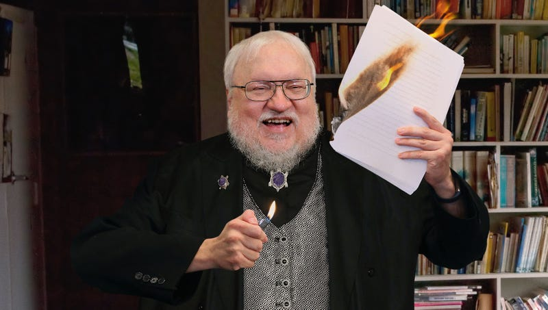 Illustration for article titled New 'Game Of Thrones' Teaser Shows Cackling, Power-Mad George R.R. Martin Burning Completed 'Winds Of Winter' Manuscript