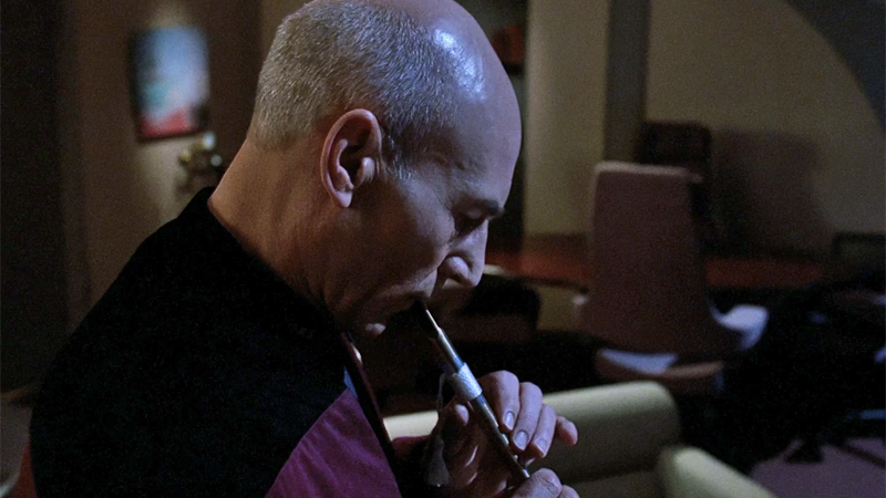 "Picard plays a mournful tune in ""The Inner Light."""