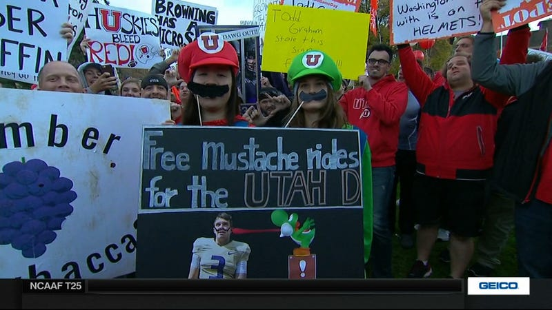 Illustration for article titled Free Mustache Rides: Your Salt Lake City College GameDay Sign Roundup