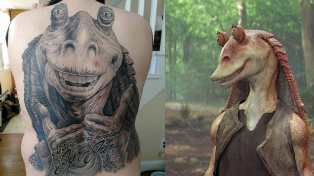 Guy With Jar Jar Binks Back Tattoo:  I Have Had Sex Multiple Times